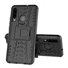 Silikon Hülle Handyhülle und Kunststoff Schutzhülle Tasche mit Ständer R03 für Huawei Honor 20 Lite Schwarz