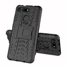 Silikon Hülle Handyhülle und Kunststoff Schutzhülle Tasche mit Ständer R03 für Huawei Honor V20 Schwarz