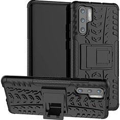 Silikon Hülle Handyhülle und Kunststoff Schutzhülle Tasche mit Ständer R03 für Huawei P30 Pro Schwarz