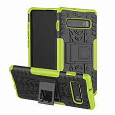 Silikon Hülle Handyhülle und Kunststoff Schutzhülle Tasche mit Ständer R03 für Samsung Galaxy S10 Grün