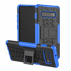 Silikon Hülle Handyhülle und Kunststoff Schutzhülle Tasche mit Ständer R03 für Samsung Galaxy S10 Plus Blau