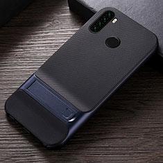 Silikon Hülle Handyhülle und Kunststoff Schutzhülle Tasche mit Ständer R04 für Xiaomi Redmi Note 8 Blau