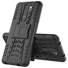 Silikon Hülle Handyhülle und Kunststoff Schutzhülle Tasche mit Ständer R04 für Xiaomi Redmi Note 8 Pro Schwarz