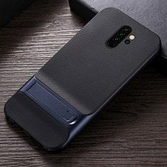 Silikon Hülle Handyhülle und Kunststoff Schutzhülle Tasche mit Ständer R06 für Xiaomi Redmi Note 8 Pro Blau