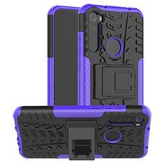Silikon Hülle Handyhülle und Kunststoff Schutzhülle Tasche mit Ständer R06 für Xiaomi Redmi Note 8T Violett