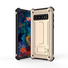 Silikon Hülle Handyhülle und Kunststoff Schutzhülle Tasche mit Ständer T01 für Samsung Galaxy S10 Gold