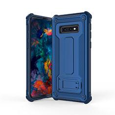 Silikon Hülle Handyhülle und Kunststoff Schutzhülle Tasche mit Ständer T01 für Samsung Galaxy S10e Blau