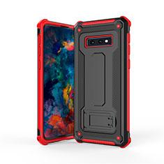 Silikon Hülle Handyhülle und Kunststoff Schutzhülle Tasche mit Ständer T01 für Samsung Galaxy S10e Rot und Schwarz