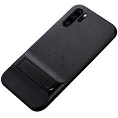 Silikon Hülle Handyhülle und Kunststoff Schutzhülle Tasche mit Ständer Z01 für Huawei P30 Pro Schwarz