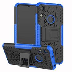 Silikon Hülle Handyhülle und Kunststoff Schutzhülle Tasche mit Ständer Z01 für Huawei Y6 Prime (2019) Blau