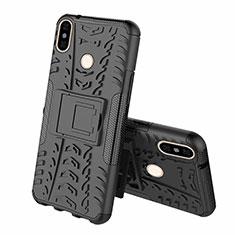 Silikon Hülle Handyhülle und Kunststoff Schutzhülle Tasche mit Ständer Z01 für Xiaomi Mi 8 Schwarz