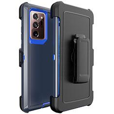 Silikon Hülle Handyhülle und Kunststoff Schutzhülle Tasche N04 für Samsung Galaxy Note 20 Ultra 5G Blau und Schwarz