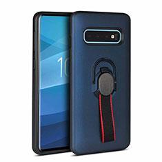 Silikon Hülle Handyhülle und Kunststoff Schutzhülle Tasche R01 für Samsung Galaxy S10 Plus Blau