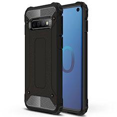 Silikon Hülle Handyhülle und Kunststoff Schutzhülle Tasche R01 für Samsung Galaxy S10 Schwarz