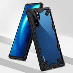 Silikon Hülle Handyhülle und Kunststoff Schutzhülle Tasche R02 für Huawei P30 Pro Schwarz