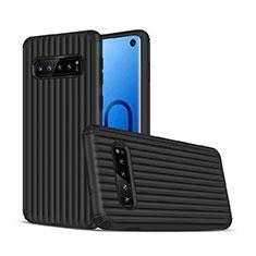 Silikon Hülle Handyhülle und Kunststoff Schutzhülle Tasche U01 für Samsung Galaxy S10 Schwarz