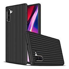 Silikon Hülle Handyhülle und Kunststoff Schutzhülle Tasche U02 für Samsung Galaxy Note 10 Schwarz
