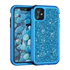 Silikon Hülle Handyhülle und Kunststoff Schutzhülle Tasche Vorder und Rückseite 360 Grad Bling-Bling für Apple iPhone 11 Blau
