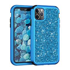 Silikon Hülle Handyhülle und Kunststoff Schutzhülle Tasche Vorder und Rückseite 360 Grad Bling-Bling für Apple iPhone 11 Pro Blau