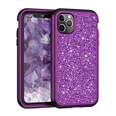 Silikon Hülle Handyhülle und Kunststoff Schutzhülle Tasche Vorder und Rückseite 360 Grad Bling-Bling für Apple iPhone 11 Pro Max Violett
