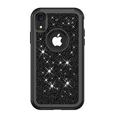 Silikon Hülle Handyhülle und Kunststoff Schutzhülle Tasche Vorder und Rückseite 360 Grad Bling-Bling für Apple iPhone XR Schwarz