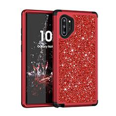 Silikon Hülle Handyhülle und Kunststoff Schutzhülle Tasche Vorder und Rückseite 360 Grad Bling-Bling für Samsung Galaxy Note 10 Plus Rot
