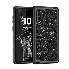 Silikon Hülle Handyhülle und Kunststoff Schutzhülle Tasche Vorder und Rückseite 360 Grad Bling-Bling für Samsung Galaxy Note 10 Schwarz