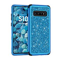 Silikon Hülle Handyhülle und Kunststoff Schutzhülle Tasche Vorder und Rückseite 360 Grad Bling-Bling für Samsung Galaxy S10 5G Blau