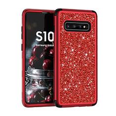 Silikon Hülle Handyhülle und Kunststoff Schutzhülle Tasche Vorder und Rückseite 360 Grad Bling-Bling für Samsung Galaxy S10 Plus Rot