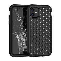 Silikon Hülle Handyhülle und Kunststoff Schutzhülle Tasche Vorder und Rückseite 360 Grad Bling-Bling U01 für Apple iPhone 11 Schwarz