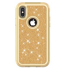 Silikon Hülle Handyhülle und Kunststoff Schutzhülle Tasche Vorder und Rückseite 360 Grad Bling-Bling U01 für Apple iPhone X Gold