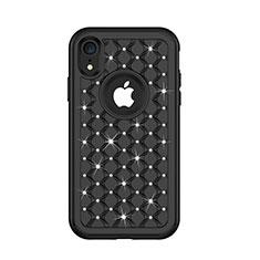 Silikon Hülle Handyhülle und Kunststoff Schutzhülle Tasche Vorder und Rückseite 360 Grad Bling-Bling U01 für Apple iPhone XR Schwarz