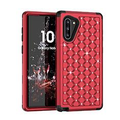 Silikon Hülle Handyhülle und Kunststoff Schutzhülle Tasche Vorder und Rückseite 360 Grad Bling-Bling U01 für Samsung Galaxy Note 10 5G Rot
