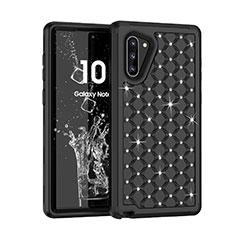 Silikon Hülle Handyhülle und Kunststoff Schutzhülle Tasche Vorder und Rückseite 360 Grad Bling-Bling U01 für Samsung Galaxy Note 10 Schwarz