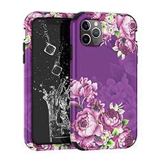 Silikon Hülle Handyhülle und Kunststoff Schutzhülle Tasche Vorder und Rückseite 360 Grad für Apple iPhone 11 Pro Violett