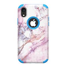 Silikon Hülle Handyhülle und Kunststoff Schutzhülle Tasche Vorder und Rückseite 360 Grad für Apple iPhone XR Blau