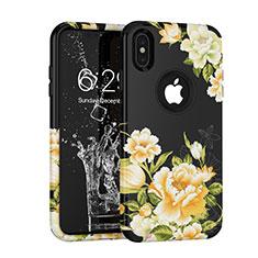 Silikon Hülle Handyhülle und Kunststoff Schutzhülle Tasche Vorder und Rückseite 360 Grad für Apple iPhone Xs Schwarz