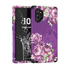 Silikon Hülle Handyhülle und Kunststoff Schutzhülle Tasche Vorder und Rückseite 360 Grad für Samsung Galaxy Note 10 Plus Violett