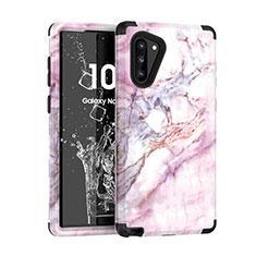 Silikon Hülle Handyhülle und Kunststoff Schutzhülle Tasche Vorder und Rückseite 360 Grad für Samsung Galaxy Note 10 Schwarz