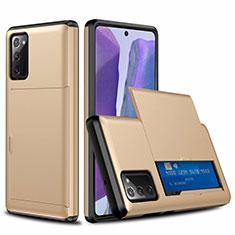Silikon Hülle Handyhülle und Kunststoff Schutzhülle Tasche Vorder und Rückseite 360 Grad Ganzkörper N01 für Samsung Galaxy Note 20 5G Gold