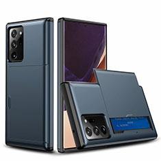 Silikon Hülle Handyhülle und Kunststoff Schutzhülle Tasche Vorder und Rückseite 360 Grad Ganzkörper N01 für Samsung Galaxy Note 20 Ultra 5G Blau