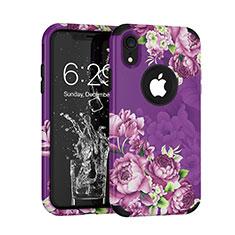 Silikon Hülle Handyhülle und Kunststoff Schutzhülle Tasche Vorder und Rückseite 360 Grad U01 für Apple iPhone XR Violett