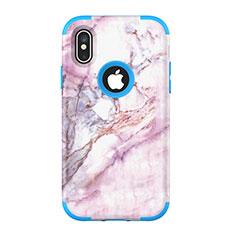 Silikon Hülle Handyhülle und Kunststoff Schutzhülle Tasche Vorder und Rückseite 360 Grad U01 für Apple iPhone Xs Blau