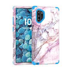 Silikon Hülle Handyhülle und Kunststoff Schutzhülle Tasche Vorder und Rückseite 360 Grad U01 für Samsung Galaxy Note 10 Plus 5G Blau