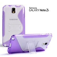 Silikon Hülle S-Line Stand Schutzhülle Durchsichtig Transparent für Samsung Galaxy Note 3 N9000 Violett