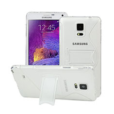 Silikon Hülle S-Line Stand Schutzhülle Durchsichtig Transparent für Samsung Galaxy Note 4 Duos N9100 Dual SIM Weiß