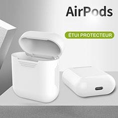 Silikon Hülle Schutzhülle Skin mit Karabiner für AirPods Ladekoffer A03 Weiß