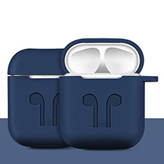 Silikon Hülle Schutzhülle Skin mit Karabiner für AirPods Ladekoffer A04 Blau