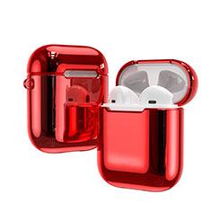 Silikon Hülle Schutzhülle Skin mit Karabiner für AirPods Ladekoffer C03 Rot
