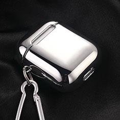 Silikon Hülle Schutzhülle Skin mit Karabiner für AirPods Ladekoffer C03 Silber